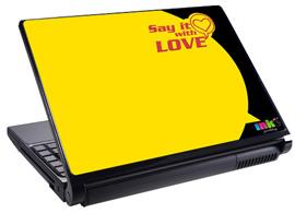 Скин за лаптоп LS2007, жълт LOVE