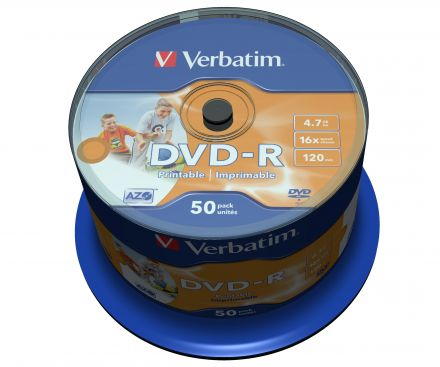 Verbatim DVD-R 4.7GB Ink Printable шпиндел (50)