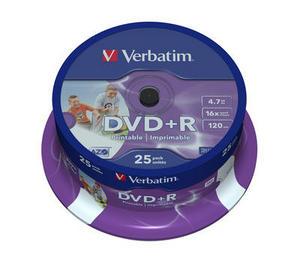 Verbatim DVD R 4.7GB Ink Printable шпиндел (25)