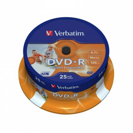 Verbatim DVD-R 4.7GB Ink Printable шпиндел (25) (43538)