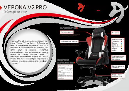 Геймърски стол Arozzi Verona-pro-V2, карбон