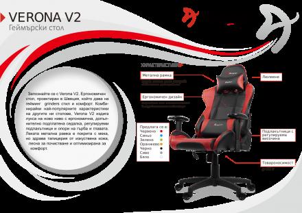 Геймърски стол Arozzi Verona-V2, черно